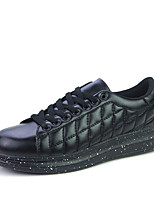 Men's Flats Spring / Fall Comfort PU Outdoor / Casual Flat Heel Lace-up Black / White / Black and White Walking