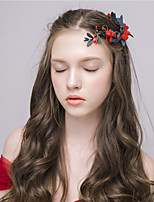MISS DIVA   Women's Tulle Headpiece Hair Combs 1 Piece Red Flower 53
