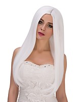 Fashion Women Straight White Color Cosplay Heat Resistant Wedding Party Synthetic Wig