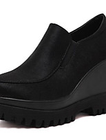 Women's Loafers & Slip-Ons Spring / Fall Wedges Leatherette Outdoor Wedge Heel Lace-up Black Others