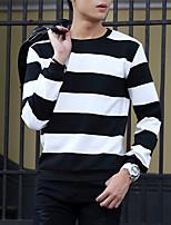 Men's Striped Casual SweatshirtCotton Long Sleeve Black / Blue / Gray