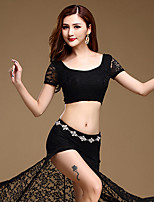 Belly Dance Outfits Women's Performance Split Front 2 Pieces Black / Fuchsia / Dark Blue Top / Skirt Belt Not Included