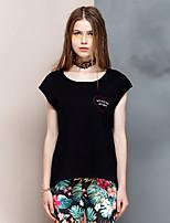 Coeur Soul® Femme Col Arrondi Manche Courtes T-shirt Noir-24AA23957