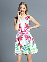Boutique S Women's Casual/Daily Cute A Line Dress,Floral V Neck Above Knee Sleeveless White Polyester Summer