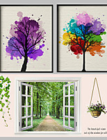 Cotton Canvas Art Painting Handpainted  Tree Landscape With Black Frame Ready  to Hang