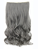 Curly Wavy Synthetic Clip in Hair Extensions 60cm 120grams Gary Heat Resistant Fiber 5Clips Clip On Hairpiece