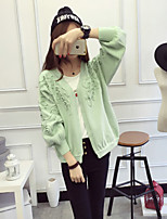 Women's Casual/Daily Simple Regular Cardigan,Solid Pink / Green / Yellow V Neck Long Sleeve Acrylic Spring / Fall Medium