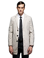 Men's Solid Casual / Formal / Plus Sizes Trench coat,Bamboo Fiber / Polyester Long Sleeve-Blue / Brown