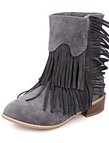 Women's Boots Spring / Fall / Winter Fashion Boots Leatherette Outdoor /Casual Chunky Heel TasselBlack / Yellow / Red