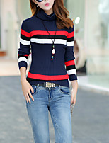 Going out / Casual/Daily Street chic Regular Pullover,Color Block Blue / Brown Turtleneck Long Sleeve Cotton