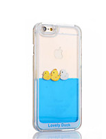 Funny Design Fluid Liquid Flowing Yellow Duck Crystal Clear Plastic Hard Case Cover for iPhone 6