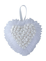 Pure White Rose Flower with Crystal Pearl Decoration Hanging Ring Pillow for Wedding Party(21*24cm)
