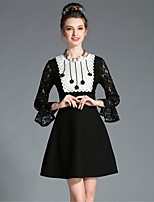Plus Size Women Autumn Embroidered Bead See Through Lace Flare Sleeve Slim A-Line  Elegant Dress