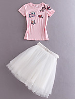 Boutique S Women's Going out Cute Summer Set Skirt,Embroidered Round Neck Short Sleeve Pink / White Cotton Opaque