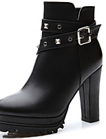 Women's Boots Spring/Fall/Winter Heels Synthetic Office & Career/Party & Evening/Casual Chunky Heel Black Snow Boots