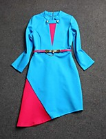Boutique S Women's Going out Street chic Sheath Dress,Color Block Stand Above Knee Long Sleeve Blue Cotton Summer