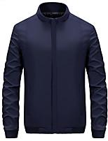 Effen-Informeel / Formeel-Heren-Bamboe Vezel / Polyester-Trenchcoat-Lange mouw Zwart / Blauw / Bruin