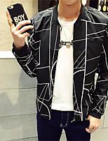 Men's Long Sleeve Plus Size Jacket,Cotton Striped Black / White
