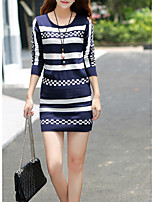 Women's Casual/Daily Simple Regular Pullover,Striped Blue / Black Round Neck Long Sleeve Cotton Fall Medium Set