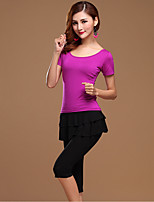 Latin Dance Outfits Women's Training Cotton Tiers 2 Pcs Black / Fuchsia / Purple / Burgundy Short Sleeve Top / Pant