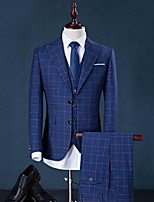 Suits Standard Fit Peak Single Breasted Two-buttons Cotton Checkered 3 Pieces Gray / Blue Straight Flapped