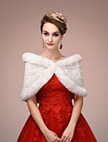Women's Wrap Capelets Sleeveless Faux Fur White Wedding / Party/Evening V-neck 45cm Flower(s) / Lace Clasp