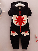 Boy's Cotton Spring/Autumn Fashion Cute Cartoon Patchwork Casual Long Sleeve Coat And Pants Two-piece Set