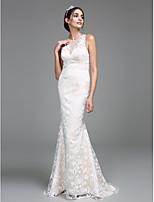 Lanting Bride® Trompeta / Sirena Vestido de Boda Larga Joya Encaje con Encaje