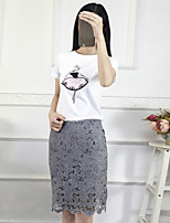 Boutique S Women's Casual/Daily Street chic Summer Set Skirt,Print Round Neck Short Sleeve White Cotton / Polyester Thin