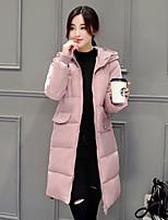 Women's Solid Pink / Beige / Black / Gray Padded Coat,Cute Hooded Long Sleeve