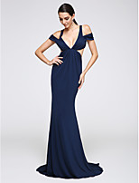 TS Couture® Formal Evening Dress Trumpet / Mermaid V-neck Sweep / Brush Train Jersey with Side Draping