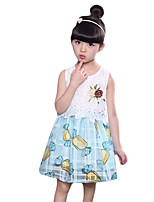 Girl's Casual/Daily Solid Dress,Others Summer Blue / Pink