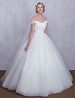 Ball Gown Wedding Dress Floor-length Off-the-shoulder Tulle with Bow / Criss-Cross