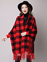 Women's Going out Cute Fall Cloak/Capes,Houndstooth V Neck Long Sleeve Red / Black / Gray / Yellow Cotton / Pol