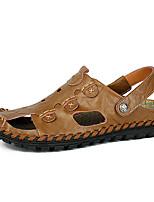 Sapatos Masculinos-Sandálias-Preto / Amarelo / Caqui-Couro-Casual