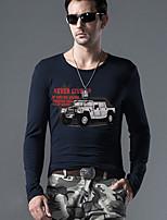 Men's Print Casual T-ShirtRayon Long Sleeve-Blue / Brown / Green / Gray