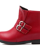 Women's Boots Spring / Fall / Winter Fashion Boots / Round Toe / Casual Low Heel Buckle / Split JointBlack / Red /