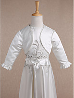 Kids' Wraps Shrugs Long Sleeve Satin Ivory Wedding / Party/Evening Wide collar Beading Open Front