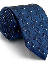 New Men's Necktie Tie 100% Silk For Men Dark Blue Dots Wedding Business Fashion Extra Long Jacquard Woven