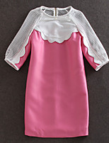 blendedWomen's Going out / Party / Street chic Loose Dress,Solid Round Neck Above Knee ¾ Sleeve Pink Others Spring