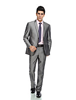 Tuxedos Tailored Fit Peak Single Breasted Two-buttons Rayon(T/R) / Wool & Polyester Blended Solid Gray