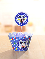 Birthday Party Tableware-24Piece/Set Cake Accessories Tag Card Paper Classic Theme Cylinder Non-personalised Blue