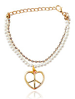Bracelet/Wrap Bracelets Alloy / Imitation Pearl Heart Fashionable Jewelry Gift Gold / White,1pc