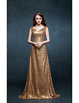 Formal Evening Dress A-line V-neck Sweep / Brush Train Sequined with Sequins