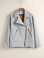 Women's Casual/Daily Street chic Coat,Solid V Neck Long Sleeve Fall / Winter Gray Polyester Thin