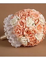 Bouquets de Noiva Redondo Rosas Buquês Casamento Poliéster / Strass 19.7
