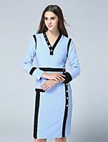 klimeda женщин вскользь / ежедневно марочные смена одежды, цвет блока v шеи длиной до колена с длинным рукавом полиэстер падение