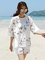 Women's Beach Street chic Summer T-shirt Pant,Floral Round Neck ½ Length Sleeve White Cotton Thin