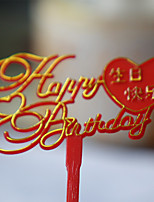 Cake Topper Non-personalized Hearts Hard plastic Birthday Red Classic Theme 1 Gift Box