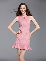 Boutique S Going out / Casual/Holiday Sexy / Cute Sheath Dress,Solid Round Neck Above Knee Sleeveless Pink